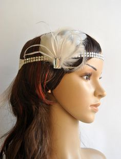 20s Flapper Feather Headband Vintage Inspired by BlueSkyHorizons, $23.50