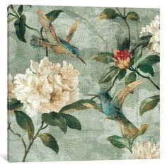 Shop iCanvas 'Birds Of A Feather I' by Reneé Campbell Canvas Print - Overstock - 15437374 Vintage Bird Wallpaper, Vintage Birds, Canvas Artwork, Canvas Wall Art, Canvas Prints, Bird Artwork, Chinoiserie Wallpaper, Bird Feathers, Birds Of A Feather