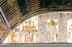 The solar bark worshipped by Thoth and Khepri, this solar element is held by Isis and Nephthys. Book of the Earth. Tomb of Ramses V-VI. Ancient Egypt