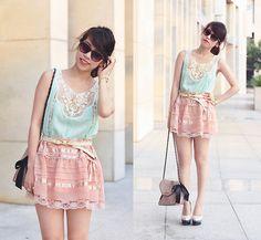 Summery pastel lace romance (by Linda Tran N) http://lookbook.nu/look/3300279-Summery-pastel-lace-romance