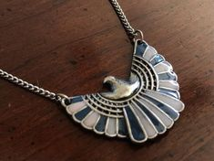 Vintage Egyptian Revival God of the Sky Horus Enamel Necklace - Falcon Hawk Thunderbird - Silver Blue and Ivory Wings - Thunderbird Eagle Ankh Necklace, Pendant Necklace, Falcon Hawk, Gold Medallion, Bracelet Designs, Beautiful Necklaces, Belt Buckles, Necklace Lengths, Egyptian