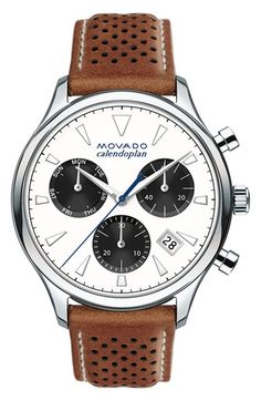 Free shipping and returns on Movado 'Heritage' Chronograph Leather Strap Watch, 43mm at Nordstrom.com. Inspired by Movado's rich archive of classic timepieces, this updated interpretation of the original Calendoplan model features a sleek, highly polished case, three-eye chronograph complication and a simple date aperture at four o'clock. A perforated, topstitched leather strap provides a fitting finish to the enduringly elegant design.