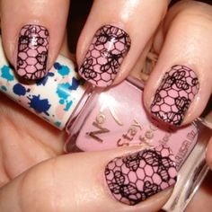 Lace Manicure  cut out design and use clear nail glue to add lace to already perfectly manicured nails
