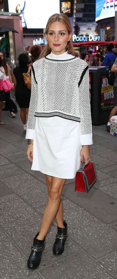 Layer a sweater over a white shirt dress just like Olivia Palermo - we love this for fall (finish with over-the-knee boots if weather is chillier)