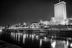 The Donaukanal in Vienna with the Ring Tower at night. Vienna, Skyscraper, Multi Story Building, Lens, Tower, Night, Skyscrapers, Rook, Computer Case
