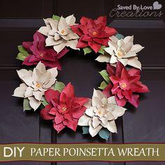 Make a Paper Poinsettia Wreath