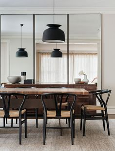 Modern dining space with pendant lights
