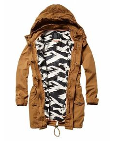 Parka with printed tribal lining, I want it in Army Green!