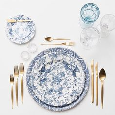 Blue Fleur de Lis Chargers | Blue Garden Collection Vintage China | Celeste Flatware | Vintage Light Blue/EAPG/Coupe Trios | Antique Crystal Salt Cellars