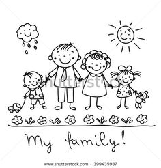 Family Isolated Over Gray Background Vector Stock Vector (Royalty Free) 110912180 Art Drawings For Kids, Drawing For Kids, Cartoon Drawings, Easy Drawings, Drawing Sketches, Family Sketch, Family Drawing, Kindergarten Drawing, Family Coloring Pages