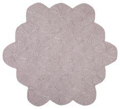 Image of scalloped crochet floor rug (grey) Space Girl, Beach Design, Grey Flooring, Natural Baby, Nursery Design, Grey Rugs, Floor Rugs, Kids Room, Adairs Kids
