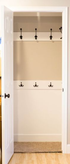 Replace the rod in your coat closet with hooks — everyone will be so much more likely to hang up their coats! | 25 Cheap And Easy DIYs That Will Vastly Improve Your Home