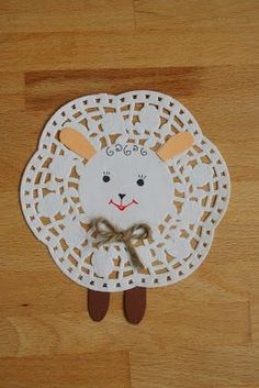 Lamb crochet idea from doily March Crafts, Spring Crafts, Easter Art, Easter Crafts For Kids, Scripture Crafts, Sheep Crafts, Alphabet Crafts, Arts And Crafts Projects, Animal Crafts