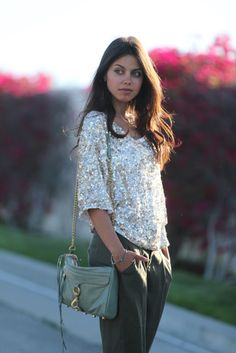 Sequined top + slouchy pants + Rebecca Minkoff MAC = Perfection