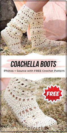 crochet COACHELLA BOOTS free pattern - easy crochet boots pattern for beginners Crochet Boots Pattern, Crochet Boot Cuffs, Crochet Shoes, Crochet Slippers, Crochet Clothes, Crochet Patterns, Men's Slippers, Knit Shoes, Crochet Ideas