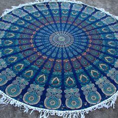 Cream Blue Peacock Round Mandala Tassel Beach Throw