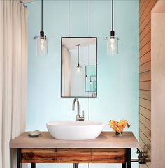 Pendant Bath Lights - The latest trend in bath lighting is hanging pendants