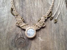 Micro macrame necklace Moonstone Tiara Full par creationsmariposa, $68.00