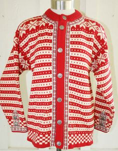 Dale of Norway - Red Striped Sweater - Folk Hand Knitted Sweaters 4d6d3fb37