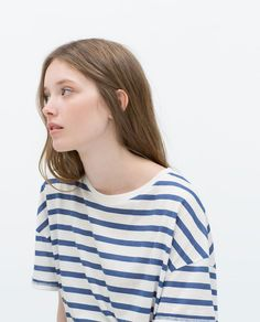 STRIPED PRINT T - SHIRT - T - shirts - TRF | Image 5 of STRIPED PRINT T-SHIRT from Zara