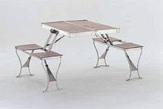 "Great picnic table concept!  Seluart Products for H.A. Saunders Ltd., London, ""Fourfold,"" c. 1950"