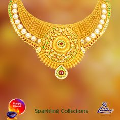 Minute work on this contemporary gold necklace will make you all breathtaking... Get more designs visiting - www.lalithaajewellery.com