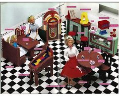 Fashion Doll Soda Shop Plastic Canvas Pattern for Barbie