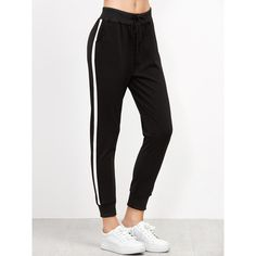Black Striped Side Drawstring Pants ($7.99) ❤ liked on Polyvore featuring pants, black, drawstring trousers, drawstring pants, stretchy pants, stripe pants and long sport pants