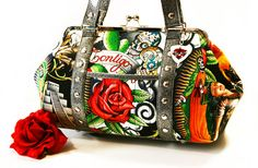 Day of the Dead Purse, Black Contigo Print and Silver Glitter Vinyl, Rockabilly Handbag - MADE TO ORDER. $125.00, via Etsy.