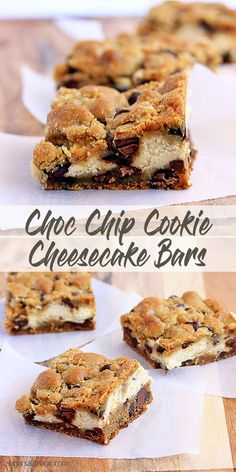 Chocolate Chip Cookie Cheesecake Slice by Sugar Salt Magic. Recipe for cheesecake sandwich between two layers of Choc Chip Cookie.  via Sugar Salt Magic