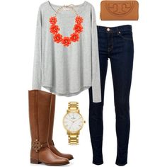 Fall preppy outfit by perfectlypreppy15 on Polyvore featuring polyvore, fashion, style, Organic by John Patrick, J Brand, Tory Burch, Kate Spade and J.Crew