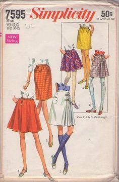 """MOMSPatterns Vintage Sewing Patterns - Simplicity 7595 Vintage 60's Sewing Pattern DARLING Mod Twiggy Mini Skirt, Scottish Celtic Kilt Set Waist 23"""""""""""