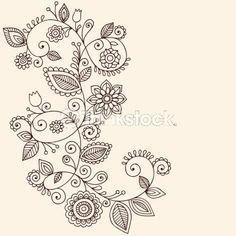 Vector Art: Henna Mehndi Paisley Flower Vine Doodle
