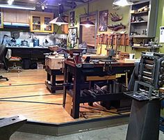 pictures of seattle metalsmith and jeweler andy cooperman's art and metals studio, tools and processes.