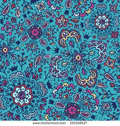 vector seamless pattern with abstract floral elements - stock vector