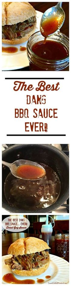 BEST DANG BBQ SAUCE...EVER!! This awesome sauce won The Best Condiment Contest on Food52. After my very first taste and I could see why. This sauce is tangy, not too sweet, loaded with layers of flavor. It's my favorite go-to sauce for pork, chicken and ribs. It's not thick like many bbq sauces and is great for basting. Simple to make, so good! | http://SweetLittleBluebird.com