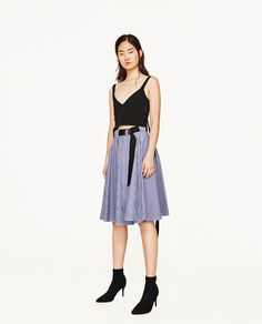 ZARA - WOMAN - STRIPED FLARED SKIRT