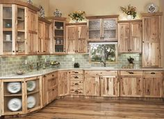 Are you looking for rustic kitchen design ideas to bring your kitchen to life? I have here great rustic kitchen design ideas to spark your creative juice. Hickory Kitchen Cabinets, Kitchen Cabinet Design, Kitchen Decor, Kitchen Cabinetry, Diy Kitchen, Kitchen Interior, Pine Cabinets, Decorating Kitchen, Rustic Wood Cabinets