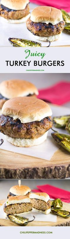Juicy Ground Turkey Burgers - This is one of my best recipes for making juicy turkey burgers with loads of flavor that will rival any beef hamburger. | ChiliPepperMadness.com