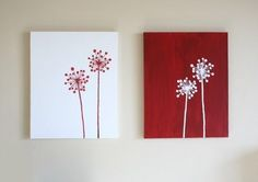 Reserve Listing Inverse Dandelion Paintings - Any Color - Custom Mini Canvas Art, Diy Canvas, Canvas Wall Art, Canvas Ideas, Canvas Painting Projects, Diy Painting, Canvas Paintings, Diy Wand, Diy Wall Art