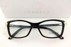 4f724b16db9a Brand New VERSACE Eyeglasses Frames 3156 GB1 BLACK for Women 100% Authentic  Marca Versace,
