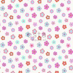 HD vliesbehang vintage bloemetjes roze, turquoise en koraal - behang   ESTAhome.nl