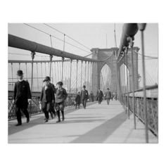 An poster sized print, approx (other products available) - BROOKLYN BRIDGE, <br> The pedestrian promenade, New York. Photograph, - Image supplied by Granger Art on Demand - Poster printed in the USA Old Photos, Vintage Photos, Vintage Photographs, New York Architecture, City North, Suspension Bridge, Pedestrian, Photo Archive, Historical Photos