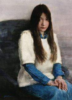 China's best watercolour artists - Zhao Jitong, Gazing, watercolour on paper