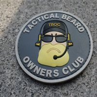 "EDC Gear Tactical Beard Owner Club ""Beard Man"" Badge Armband Morale Patch Plastic Free shipping"