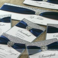 Navy and Silver Wedding Stationery - DIY Table Plan
