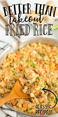 This quick and easy fried rice recipe is better than take out. It's restaurant style, but created at home with easy ingredients you'll have on hand. It comes together so fast and it's so filling. Quick And Easy Fried Rice Recipe, Fried Rice Recipe Chinese, Easy Rice Recipes, Asian Recipes, Healthy Recipes, Free Recipes, Healthy Food, Rice Side Dishes, Food Dishes