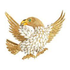 Enamel Gold Eagle Brooch