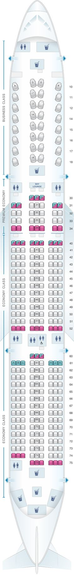 Seat Map China Airlines Airbus A350 900