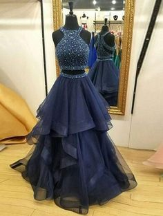 Charming Navy Blue Prom Dress,Two Piece Prom Dresses,Ball Gown Prom Dress,Long Party Dresses, 2 Piece Prom Dress Prom Dress Ball Gown Party Dress Two Piece Prom Dress Blue Party Dress Party Dress Long Prom Dresses Long Prom Dresses Two Piece, Cute Prom Dresses, Elegant Dresses, Wedding Dresses, Teen Party Dresses, 2 Piece Long Dress, Colorful Prom Dresses, Prom Dresses 2017, Bridesmaid Gowns